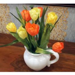 Искуственные тюльпаны в горшочке