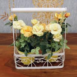 Искуственные желтые розы в 2 горшках -Оформление интерьера-bakida-qiymeti-almaq-baku