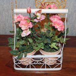 Искуственые розы в двух горшках-Оформление интерьера-bakida-qiymeti-almaq-baku