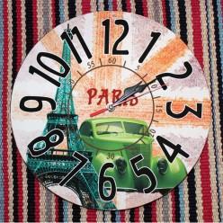"""Интерьерные настенные часы """"Эйфелева башня и машина""""-Оформление интерьера-bakida-qiymeti-almaq-baku"""