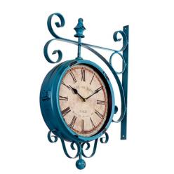 Синие настенные часы двухсторонние