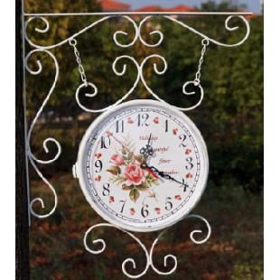 Настенные двухсторонние часы белые