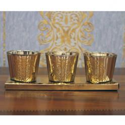 Три золотистых стаканчика для свечи-Оформление интерьера-bakida-qiymeti-almaq-baku
