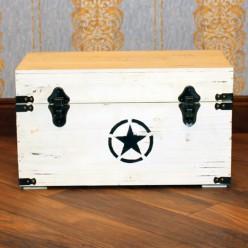 Белый деревянный сундук со звездой - маленький-Для дома и сада-bakida-qiymeti-almaq-baku
