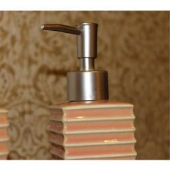 Набор для ванной розового цвета - мыльница, дозатор для жидкого мыла, стакан, стакан для зубных щеток
