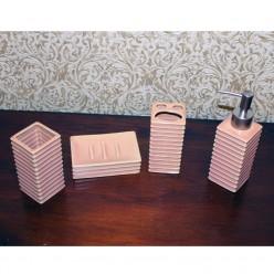 Набор для ванной розового цвета - мыльница, дозатор для жидкого мыла, стакан, стакан для зубных щеток-Ванная-bakida-qiymeti-almaq-baku