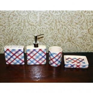 Набор для ванной - мыльница, дозатор для жидкого мыла, стакан, стакан для зубных щеток