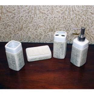 Набор для ванной c покрытием - мыльница, дозатор для жидкого мыла, стакан, стакан для зубных щеток