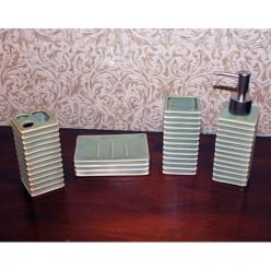 Набор для ванной зеленный- мыльница, дозатор для жидкого мыла, стакан, стакан для зубных щеток-Ванная-bakida-qiymeti-almaq-baku